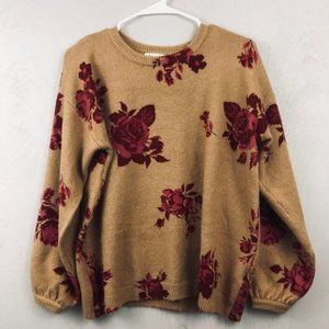 Skylar + Jade Camel Rose Fuzzy Crew Neck Sweater